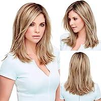 HAIRCUBE Lange Gerade Blond Perücken für Frauen Futura Synthetische Haarperücke mit Dunkel Verwurzelt Textur und Seidig