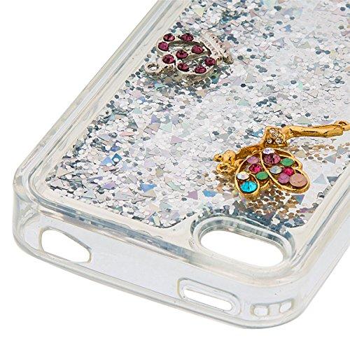 iPhone 4 Hülle, iPhone 4S Hülle, Gift_Source [ Gold ] Transparent Weiche Silikon Schutzhülle TPU Bumper Case Schutz Handy Hülle Case, Creative 3D strom flüssiger durchdrungen von glitzer und sterne Hü E1-Silber & Crown Angel