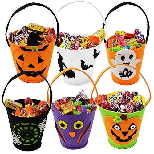 Moonvvin Halloween-Leckerbeutel, 7 Stück, Filz, Süßigkeiten-Eimer, Tragbare Handtasche, Halloween, Kürbis-Tasche, Halloween-Dekoration, für Kinder, Filz, 6 Stück, 27 * 30 * 2cm (Süßigkeiten Halloween Schüssel-shop)