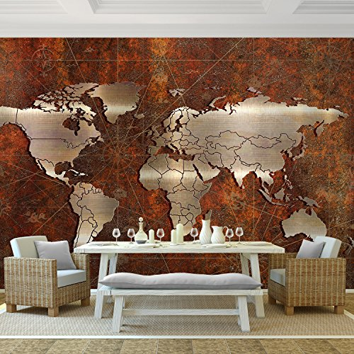Fototapete Weltkarte 352 x 250 cm - Vliestapete - Wandtapete - Vlies Phototapete - Wand - Wandbilder XXL - !!! 100% MADE IN GERMANY !!! Runa Tapete 9031011a