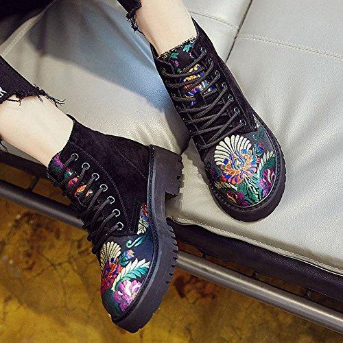 HAIPENG Stivaletti Stivali Martin Primavera E Autunno Ricamato Retro Da Donna Alunno 2 Colori ( Colore : Nero , dimensioni : EU36/UK4/L:230mm ) Nero