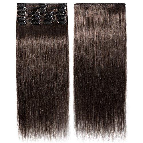 Extension capelli veri clip 8 fasce remy human hair extensions clip lisci lunga 20 pollici 50cm pesa 70grammi, #2 marrone scuro