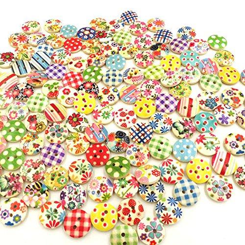 merssavo boutons enfants ronde en bois Boutons Multicolore Vêtements Décoration DIY Bricolage Coudre 100 pièces 15 mm