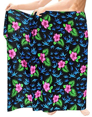 La-Leela-para-hombre-sarong-pareo-envoltura-encubrir-traje-de-bao-de-bao-ropa-de-playa-hawaiano-negro