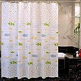 LFF- Bad Shading Warm Cartoon Fisch Duschvorhang Gepolsterte Wasserdichte Mehltaupartition Vorhang Umweltschutz Geruchfreie Duschvorhänge (Größe : 120X180cm)