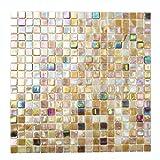 Fliesen Mosaik Mosaikfliese Bad Glas sandfarben Quadrat Mix Küche 4mm Neu #173