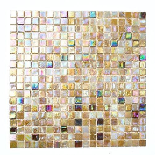 Mosaikfliesen Fliesen Mosaik Küche Bad WC Fliesenspiegel Glas sandfarben Quadrat Mix 4mm Neu #K673 -