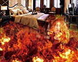BZDHWWH 3D Bodenbelag Custom Wallpaper Feurige Feuer 3D Bodenfliesen Tapete Für Wände 3 D Wohnzimmer Schlafzimmer Badezimmer Kleber Tapeten,60Cm X 90Cm