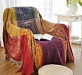 Sofa Bezüge folk-custom Chenille Jacquard Quasten Überwurf Decke Sofa Stuhl Cover Tribal Muster für Camping (149,9x 190,5cm)
