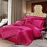 200tc korean style + polyester + einfarbig + vier-stück-set(1quilt cover +1bett deckel +2kissenbezug)-E Queen2