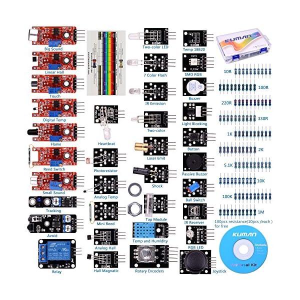 61833b3qMYL. SS600  - Arduino Kit, Arduino Uno Raspberry Pi 3 Mega 2560 R3, 37 en 1 Módulo Sensor Proyectos para Arduino Starter Kit K5