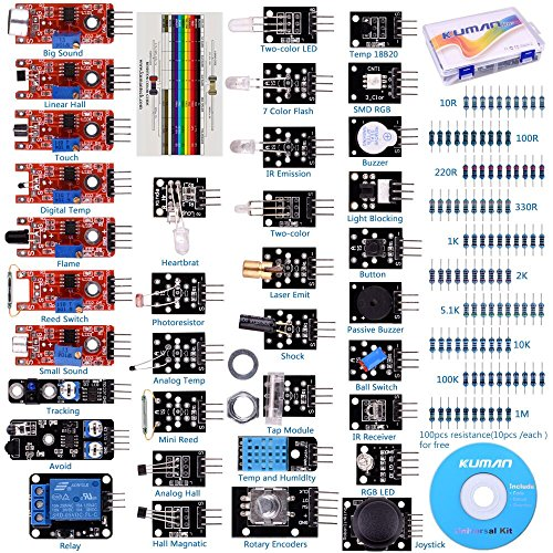 Push-button-modul (For arduino UNO R3 Mega2560 Nano Sensor Starter Kit Kuman 37 in 1 Arduino Compatible Learning Module for Raspberry Pi RPi 3 2 Model B B+ A A+ K5)
