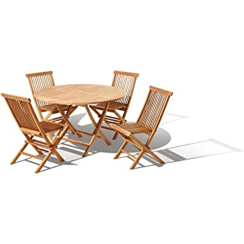 Java Teak Islington Solid Teak Round Garden Patio Furniture Set 4