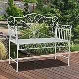 Outsunny Garden 2-Sitzer Metall Bench Park Platz Outdoor Möbel W/Dekorative Rückenlehne weiß