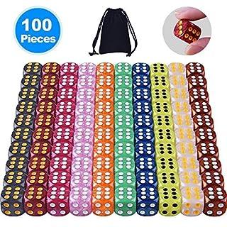 AUSTOR 100 Stück Würfel Set (mit einem Beutel) 10 Perle Farben x 10 Abgerundete Kanten Würfel für Spiel und Lehre Mathe