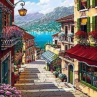 ufengke® Hermosa casas escalera de mano diy digital pintura al óleo de pintura por número de kits 40 X 50cm (sin marco)