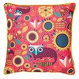 "Chumbak Fox In Garden Cotton Cushion Cover - 16"" X 16"", Multicolor"