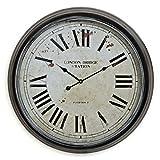levandeo XXL Wanduhr London 60cm rund aus Metall mit Glasscheibe - römische Ziffern - antik Vintage Landhaus Bahnhofsuhr Großuhr Uhr