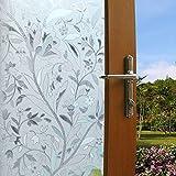 Zindoo vinilo de ventana vinilos decorativos para puertas de cristal Privacidad Ventana vidriera se aferran película decorativa de la ventana no pegamento estático Films (44.5 x 200 CM)