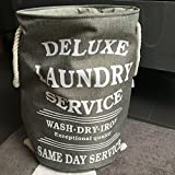 Wäschesack Wäschekorb Laundry Bag Deluxe grau und weiß (grau)