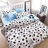 Morbuy Duvet Cover Bedding Set Cartoon Animal Style, 2 x Pillowcases 1 x Quilt Case for Kids Child Teens Single Double King Size Bed(Double-200x200CM, Cow)