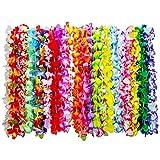 36 Stück Tropische Hawaii Luau Blume Leis Halsketten Hawaiikette für Strand Thema Party Lieferungen Dekorationen Gefälligkeiten Ornamente, 35 Farben