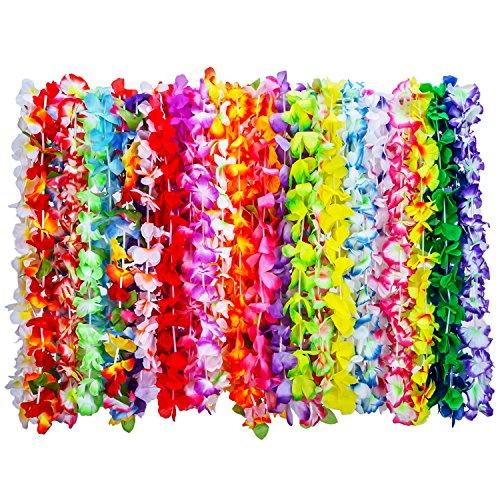 36 Stück Tropische Hawaii Luau Blume Leis Halsketten Hawaiikette für Strand Thema Party Lieferungen Dekorationen Gefälligkeiten Ornamente, 35 (Party Dekorationen Und Lieferungen)