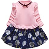 H HIBOBI Color-block Floral Dress Toddler Baby Girl Dress Ruffle Sleeve Clothes Romper Skirt Outfit