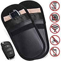 MONOJOY 2 X Car Key Signal Blocker Case, Keyless Entry Fob Guard Signal Blocking Pouch Bag, Antitheft Lock Devices, Healthy Cell Phone Privacy Protection Security WIFI/GSM/LTE/NFC/RF Blocke