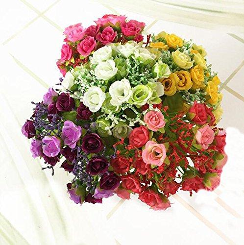 Flikool Mini Künstliche Blumenstrauß 7 Stielen 21 Köpfe Rosen Artificial Flowers Bouquet...