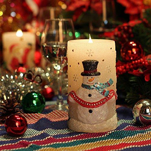 Weihnachten Schneemann 3D flammenlose bewegliche Kerze, feste Wachs-Batterie-Betreiber-Tischlampe, 3 * 6in Timer (warmes Weiß)