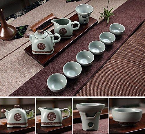 xiduobao Tranditional Kungfu Juego de té porcelana Ru horno Kungfu Juego de té chinas gongfu celadón juego de té verde té porcelana cerámica gongfu taza casa/oficina/viaje Teaset. Set de 10pcs.