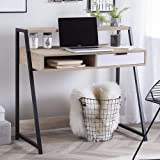 TOFARCH Samara Engineered Wood Office Study Table  Free Standing, Finish Color   Light Wood