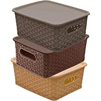 Kuber Industries Plastic 3 Pieces Small Size Multipurpose Solitaire Storage Basket with Lid (Multi)(Size:25x19x10.5cm…