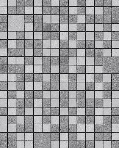 Badezimmer-fliesen Akzente (Küchen Bad Tapete EDEM 1033-16 Vinyltapete geprägt mit geometrischen Formen und metallischen Akzenten silber platin grau 5,33 m2)