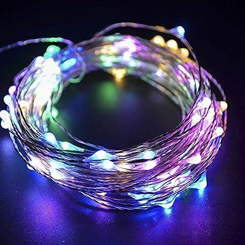 10m 100 LED-String-Licht, Moliker Feiertags-Weihnachten dekoratives Licht Weihnachten Copper Lichter Schnur für Weihnachten Hochzeit Halloween-Fee-Schnur-Licht mit USB-Schnittstelle (Multicolor)