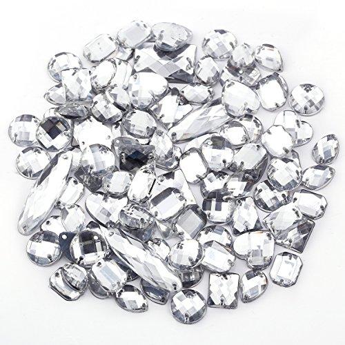 100 x klar Glitzersteine Schmucksteine Acrylsteine Strasssteine Bastelsteine zum aufnähen nähen Aufnähsteine Kleidung Tasche Deko