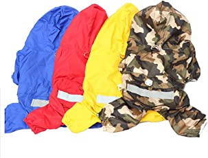 Ocamo Dog Raincoat Pet PU Double Layers Waterproof Clothes with Reflective Strips Quick Drying