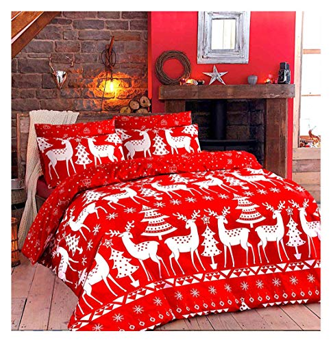 Islander Fashions Christine Rentier Dezember Rudolph Print Weihnachten Bettbezug Bettw�Sche Set Alle Gr��e Christine Rentier Double Size