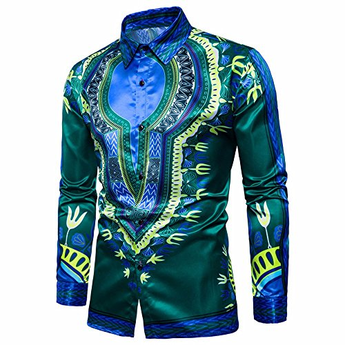 Colorful Herren Hemd Männer Hip Hop afrikanische Dashiki Grafik Top Shirts Bluse,Streetfashion Streetwear Casual Menswear Langarm Herren-Hemd (Grün, XXL) (Slim-fit-grafik)