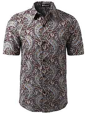 Allegra K Camisa Para Hombres Mangas Cortas Botones Frontales Impresión Floral