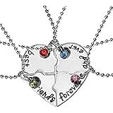 EQLEF® 4 Collar de la Amistad de la Plata de la aleación de PCS - Puede ser Heart-haped - Letras escritas Mejores Amigos por