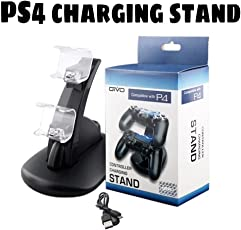Microware™ PS4 Controller Charger Charging Station, Dual USB Charger Stand for Playstation4 / PS4 / PS4 Pro / PS4 Slim Controllers