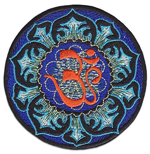 Om Aufnäher Aufbügler Patch Kunst Hippie Buddha Shanti Namaste Om Goa Trance Sri-Lanka (Klein)