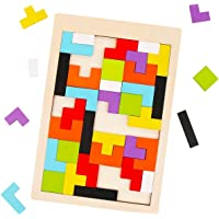 BullyStyles Wood Intelligence Tetris Puzzles Building Construction Blocks Set Jigsaw Educational Learning Toys Game for…