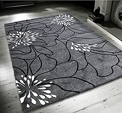 New Blossom Grey Black White Extra Large Quality Home Rug produced by Modern Style Rugs - quick delivery from UK.