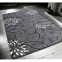 Nuovo Fiori Grigio Nero Bianco Extra Large Qualità Casa Tappeto - 120cm x 170cm