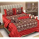 The Intellect Bazaar 7 Pc Chenille Luxury Designer Wedding Bedding Set With Filled Cushions And Bolsters
