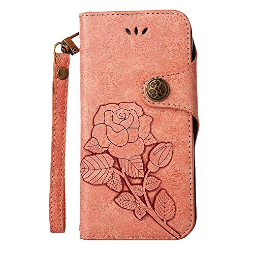 COOSTOREEU Sony Xperia XZ1 Compact Hülle, Retro geprägte Rose Florals PU Leder Flip Case Magnetic Wallet mit Kartensteckplätzen + abnehmbare Handschlaufe Case Design für Sony Xperia XZ1 Compact,Rosa -