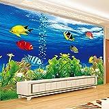 Wandgemälde Benutzerdefinierte Fototapete 3D Stereoskopischen Ozean Aquarium Sofa Tv Hintergrund Wand Dekorationen Wohnzimmer Moderne Wandbild Wandpapier,250Cm(H)×360Cm(W)